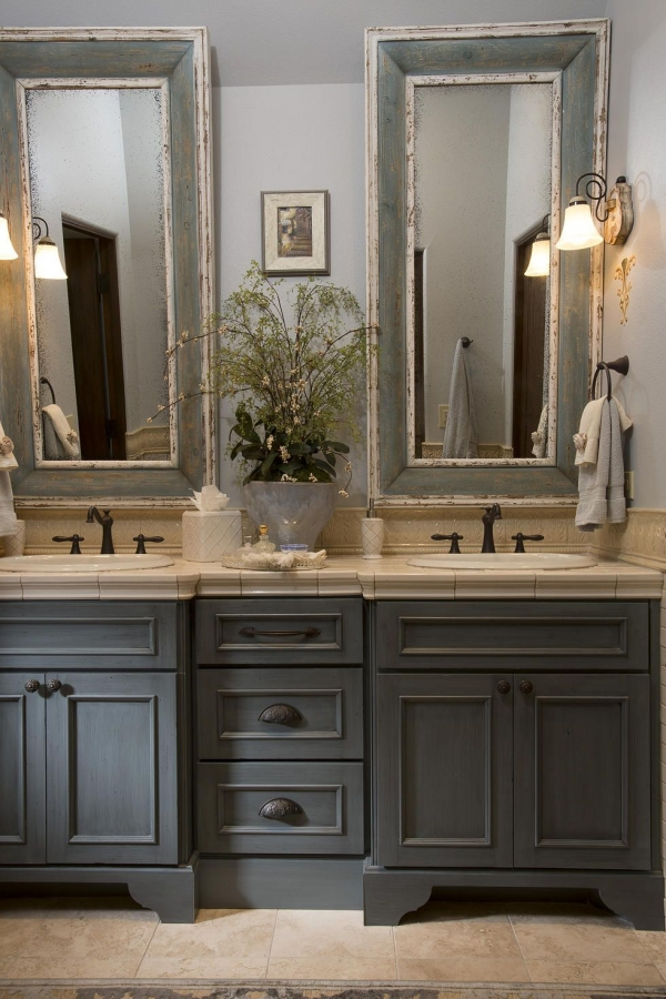 French Country Bathroom Gray Washed Cabinets Mirrors With Painted