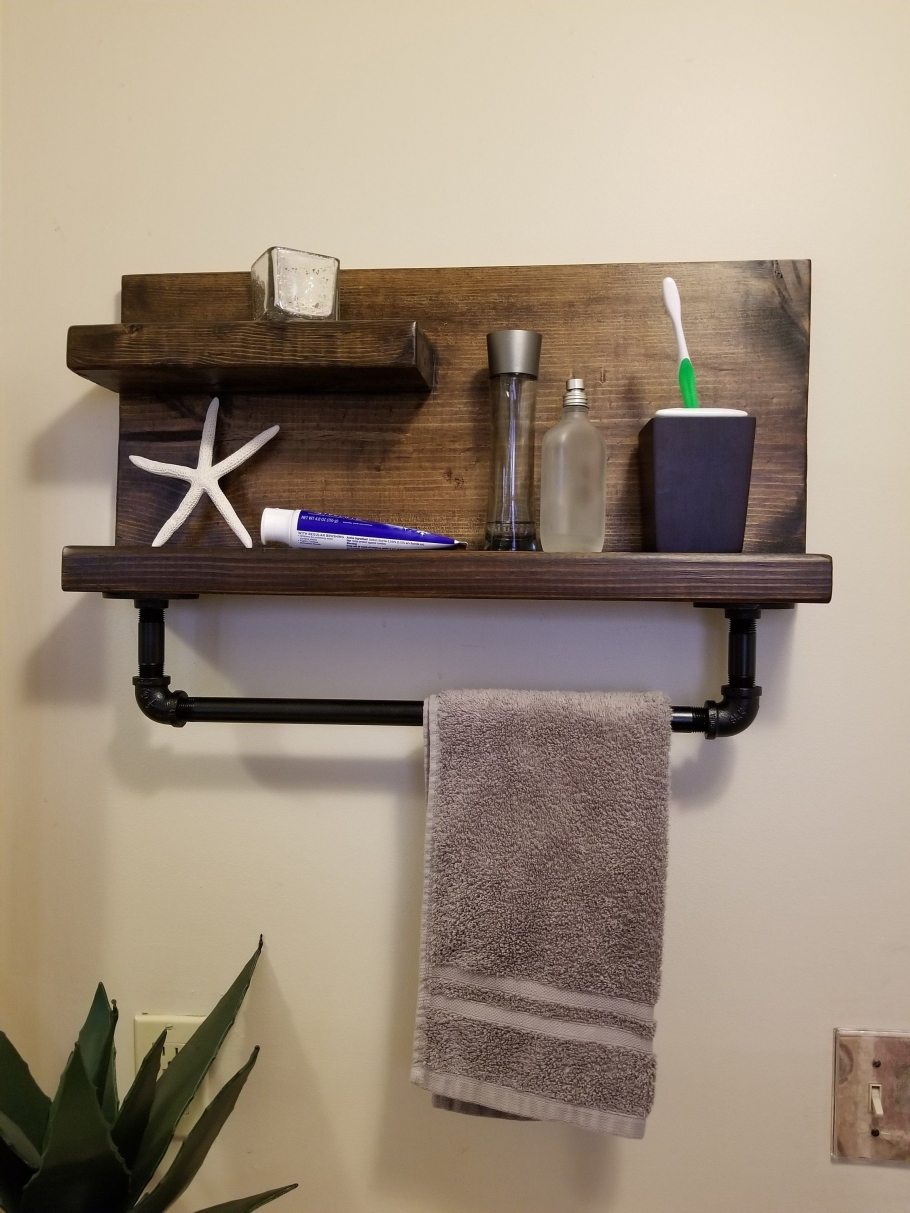 96 Models Bathroom Shelf with Industrial Farmhouse towel Bar - Tips for Buying It-9038