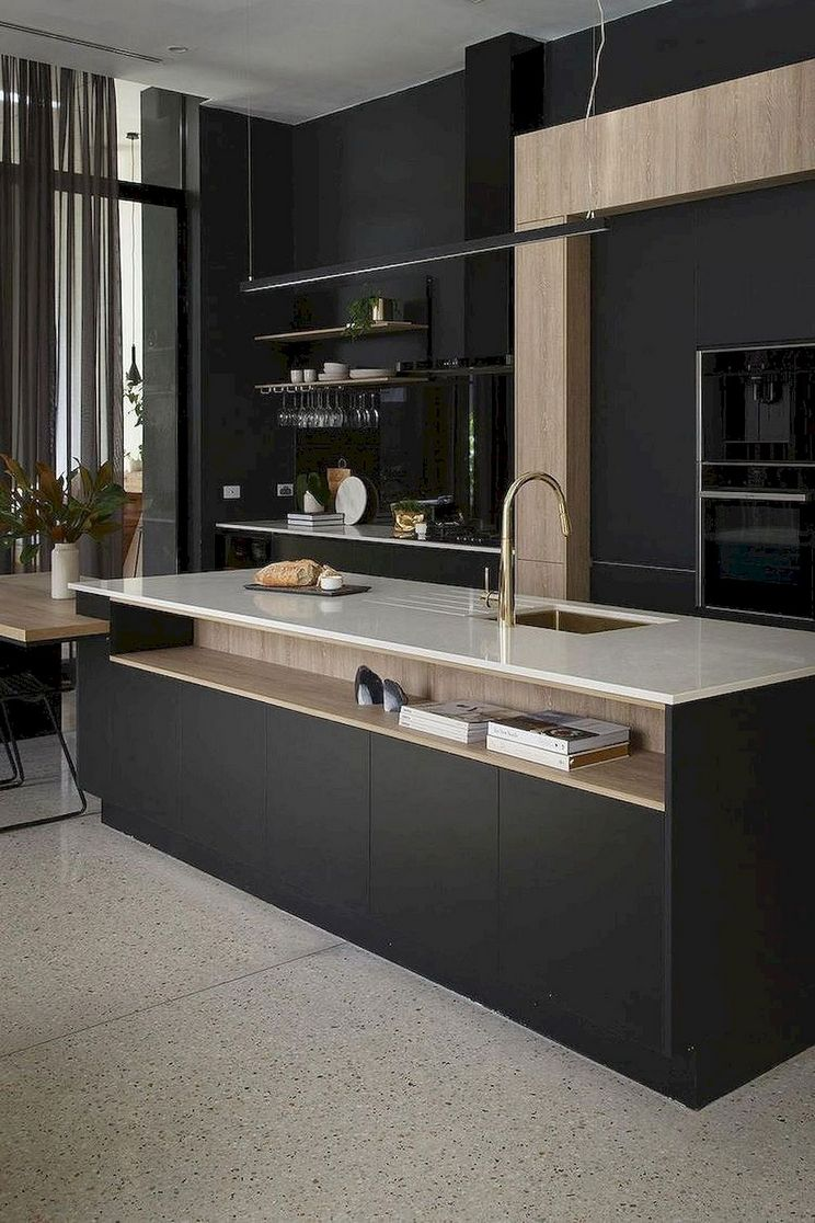 Beautifull Totally Modern Black And White Kitchen 58