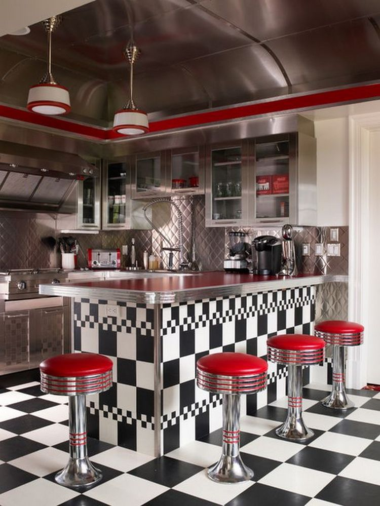 Tips For Creating Beautiful Black Or White Retro Themed Kitchens 40