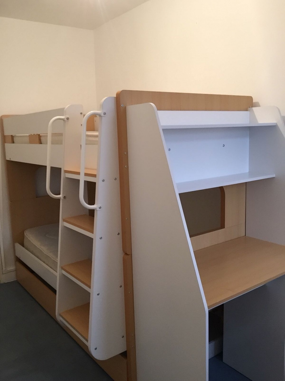 on Bunk Bed with Desk and Drawers id=15661
