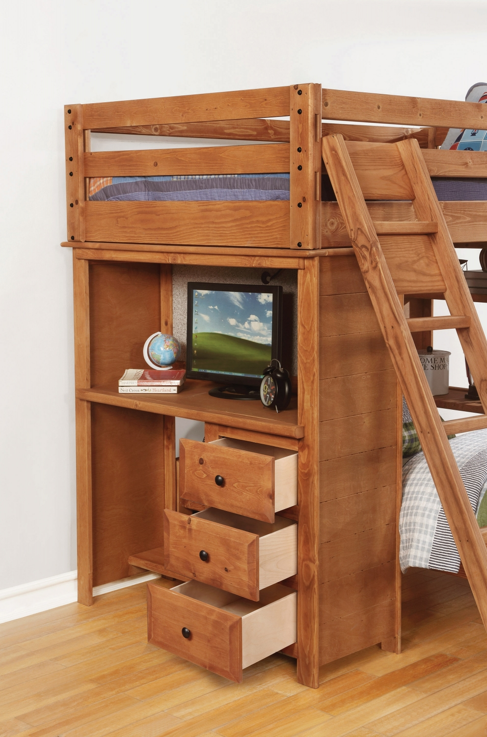 Charming Bunk Bed with Desk and Drawers On