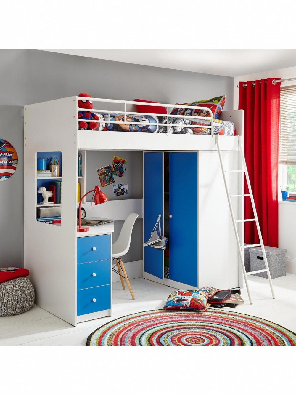 Lovely Bunk Bed with Desk and Drawers On