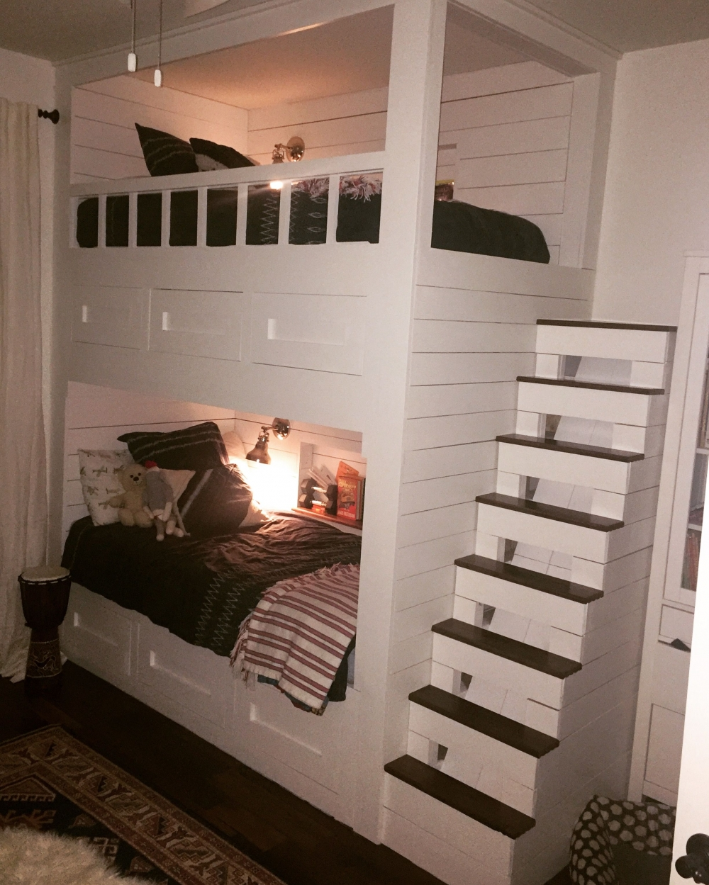 Decorative Bunk Bed with Desk and Drawers On