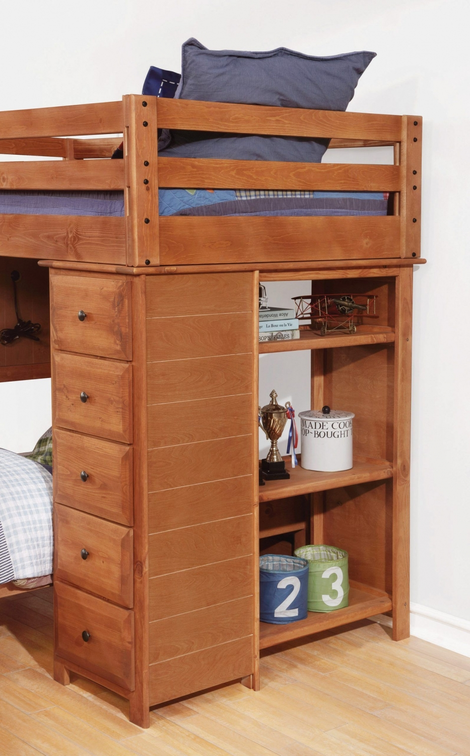 Wondrous Bunk Bed with Desk and Drawers On