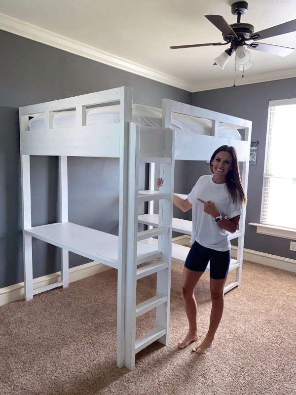 Delightful Bunk Bed with Desk for Girl On
