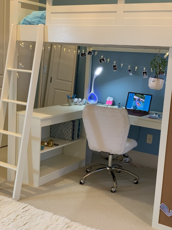 Beauteous Bunk Bed with Desk for Girl On