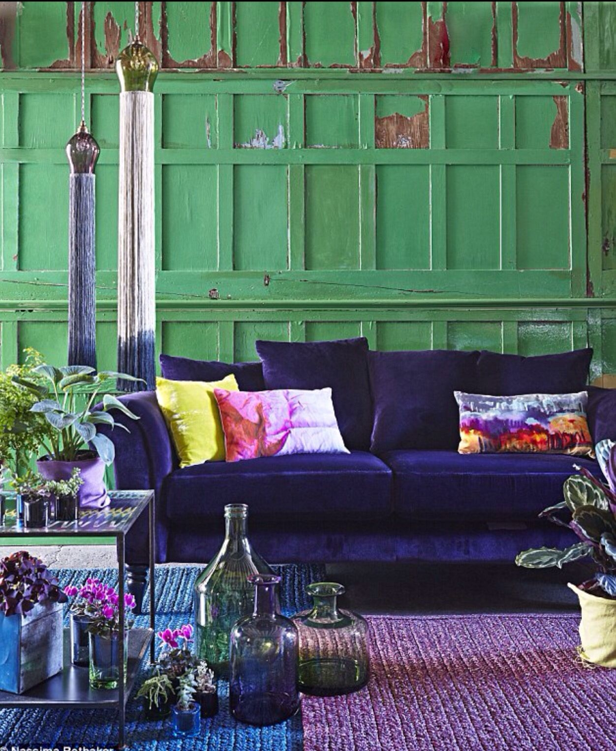 Magnificent Home Decor Ideas Living Room Modern Boho area Rug with Plum Accents On Artistic Indigo Velvet sofa Green Walls Purple Accents On Home Decor Ideas Living Room Modern Boho area Rug with Plum Accents