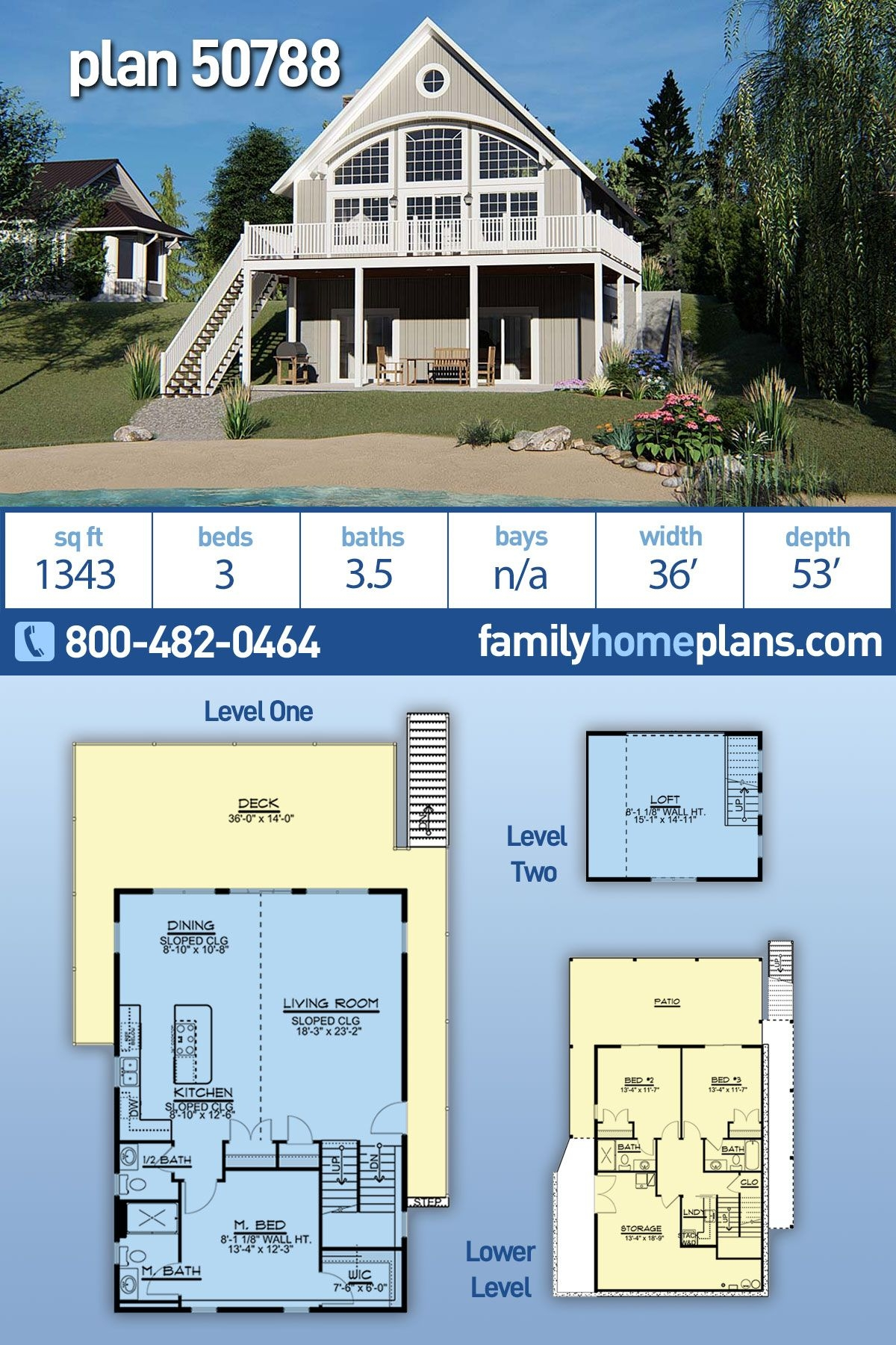 Delightful Mountain Home Plans Sloping Lot On Awe-inspiring Coastal Style House Plan with 3 Bed 4 Bath On Mountain Home Plans Sloping Lot