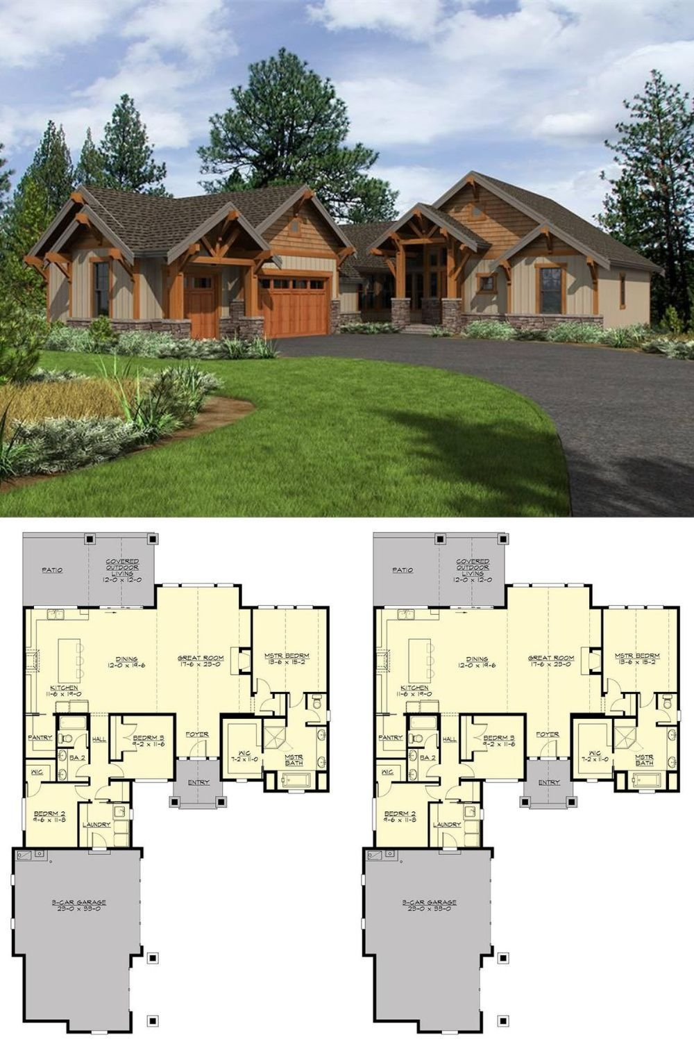 Appealing Small Mountain House Plans On Charming Single Story 3 Bedroom Carbonado Ranch Floor Plan On Small Mountain House Plans