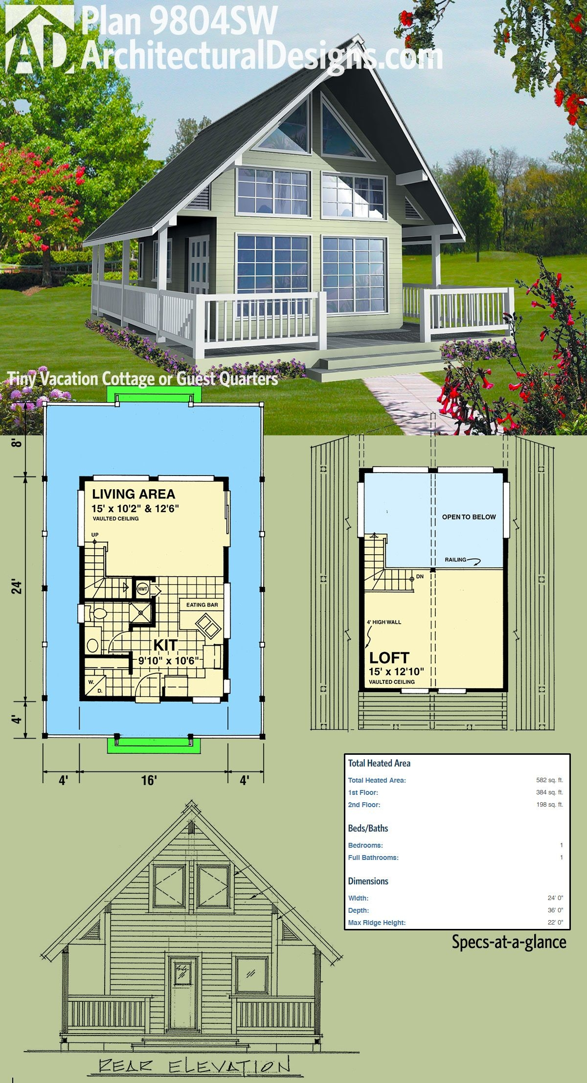 Amazing Cabin House Plans with Loft On Exquisite Plan 9804sw Vacation Cottage or Guest Quarters On Cabin House Plans with Loft