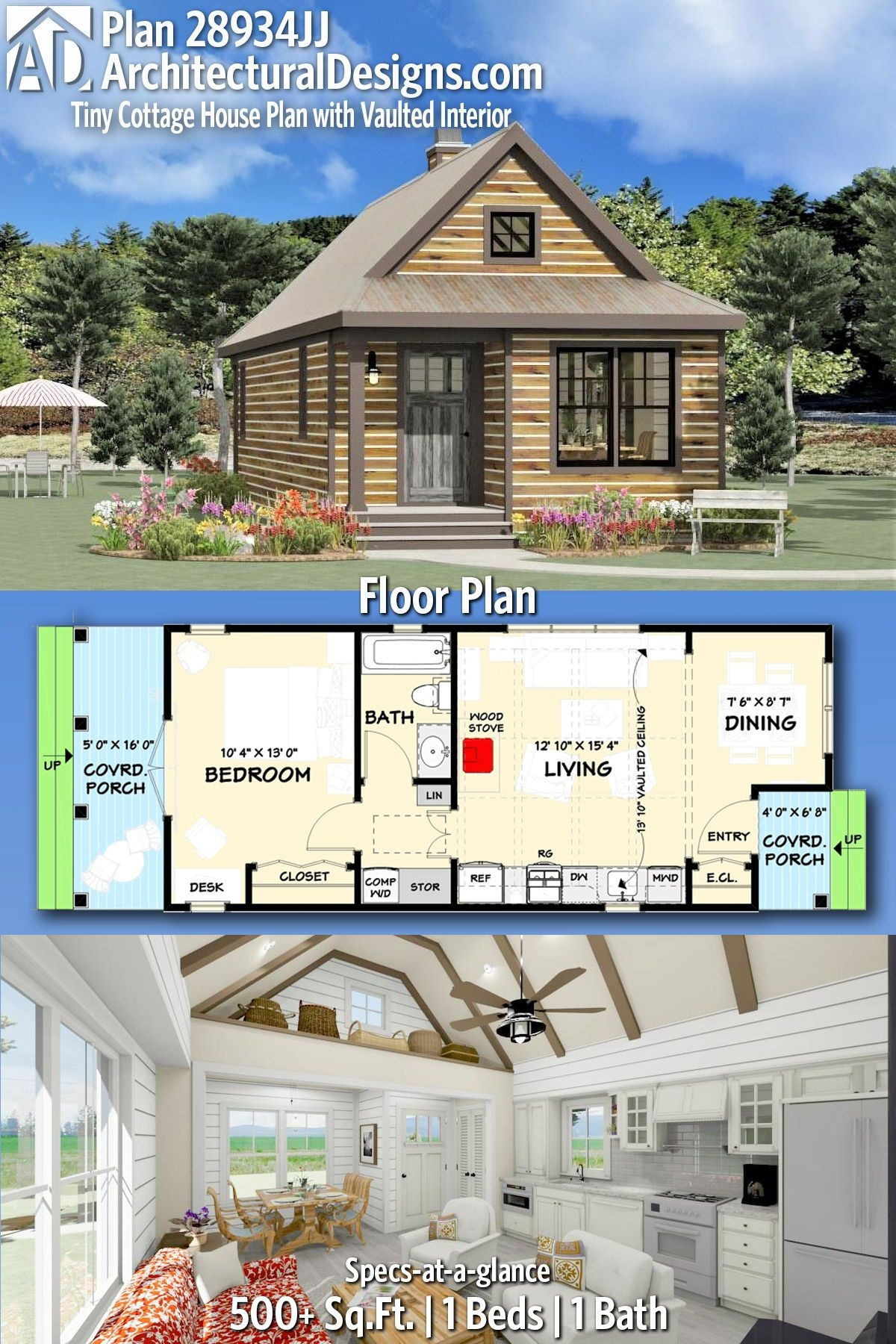 Comely Small Cabin Plans with Loft and Porch On Extraordinary Plan Jj Tiny Cottage House Plan with Vaulted Interior On Small Cabin Plans with Loft and Porch