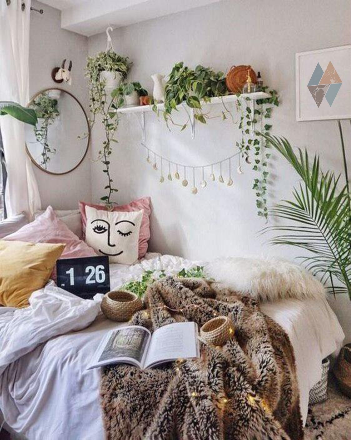 Comely Minimalist Bohemian Dorm Room Bedding On Gorgeous Turquoise Triangles Wall Art Print Minimalism Geometric On Minimalist Bohemian Dorm Room Bedding