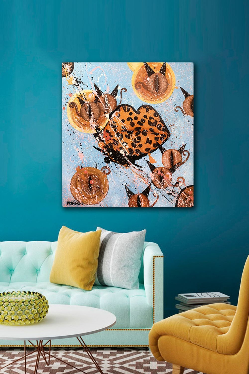 Appealing Modern Artwork for Living Room On Stunning Contemporary Art Painting Cats and Lips Acrylic On Canvas On Modern Artwork for Living Room