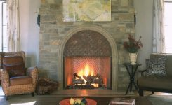 Rustic Modern Living Room With Stone Rubble Fireplace And Stained