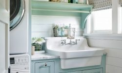 20+ Charming Farmhouse Laundry Room Paint Color Ideas Bathroom Wall Mounted Shelves