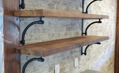 88 wood shelves with metal brackets beautiful open shelves with cast iron brackets on newly installed brick wall
