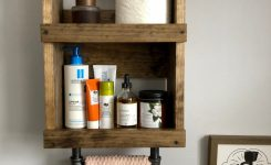 96 Models Bathroom Shelf With Industrial Farmhouse Towel Bar Tips For Buying It