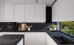 Beautifull Totally Modern Black And White Kitchen 75