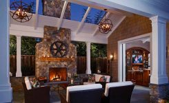 patio decor ideas next to fireplace