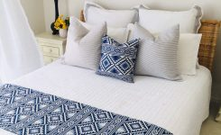 Amazing Bed Runner Bed Scarf Tribal Style Bedroom Decor Blue and On Boho Bed Pillows