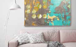 Amazing Geo Mix I Brown Teal Abstract Art Wall Decor Extra On Modern Wall Decor for Living Room