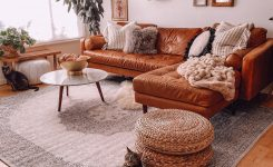 Breathtaking Tisa French Gray Ruggable Rug Living Room Cognac Leather On Traditional Style Leather sofas