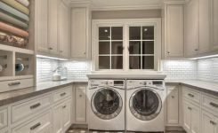 laundry room design ideas with large drawer bank and mudroom shelves