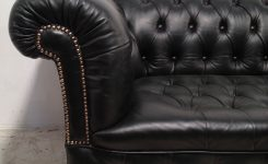 Comely Victorian Leather Chesterfield sofa Antique Green On Black Microfiber sofa