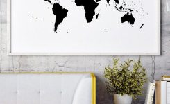 Comely World Map Black and White World Map Poster World Map Wall On Modern Wall Decor for Living Room