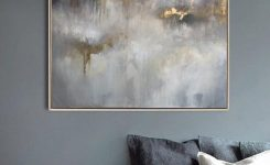 Decorative Oil Painting original Canvas Gray Painting Gold On Modern Living Room Wall Art