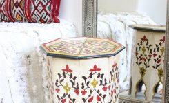 Delightful Moroccan Zouak Side Table Hand Painted Wood White Zt2 On Moroccan Furniture Store Near Me