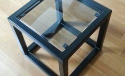 Elegant Contemporary Steel & Glass Cube Side Table On Glass Contemporary Coffee Table