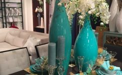 Elegant Turquoise Vases with White orchids Amazing Centerpiece On Living Room Table Centerpieces