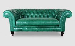Engaging Lucille 77 Loveseat In Mont Blanc Emerald Leather On Traditional Style Leather sofas