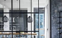 Exquisite Modern Monochrome Kitchen Diner with Blue Chairs and Pendant On Kitchen Dining Room Ideas