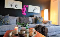 Exquisite Moody Black Wall Living Room with asian Ink Painting On Wall Pictures for Living Room