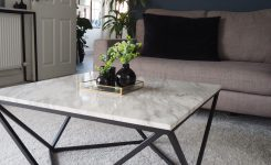 Irresistible Coffee Table White Marble Effect with Black Malibu On Coffee Table with Chairs