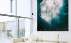 Magnificent 72 Cloud Oil Painting Cloud Canvas Art Dark Teal On Modern Artwork for Living Room