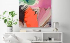 Magnificent Agenda Green orange Abstract Painting original On Large Wall Art Decor