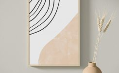Magnificent Beige Abstract Wall Art Abstract Line Art Print Modern Wall On Living Room Wall Art Large