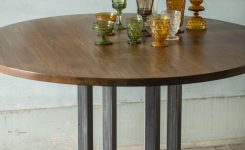 Magnificent Round Wooden Table with Steel Base On Large Oak Coffee Table