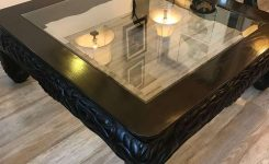 Pleasing Square asian Style Hand Carved Coffee Table On 72 Inch Long Coffee Tables